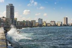 Splashing sea wave Malecon Havana Royalty Free Stock Images