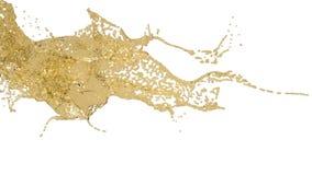 Splashing spilling yellow fluid in slow motion vector illustration
