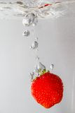 Splashing Strawberry into a water Royalty Free Stock Photography