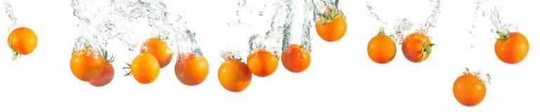 Splashing tomatoes Stock Image