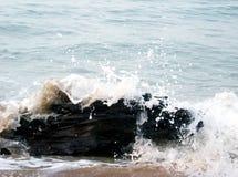 Splashing water. Water splashing over piece of wood at the ocean stock photo