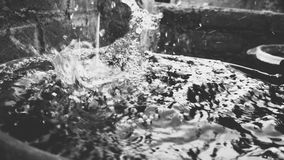 Splashing water in black and white