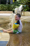 Splashing water fountain stock photo