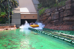 Splashing Water Ride at Theme Park. Splashing Water Ride at Jurassic Park in Universal Studios in Lo Angeles Stock Photos