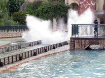 Splashing Water Ride at Theme Park stock images