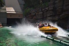Splashing Water Ride at Universal Studios. Splashing Water Ride at Jurassic Park in theme park in Los Angeles Royalty Free Stock Image