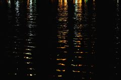 Blurred colorful lights reflection on water surface with river waves and dark background royalty free stock image