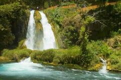 Splashing waterfall. Exotic waterfall splashing in Turkey Royalty Free Stock Photos