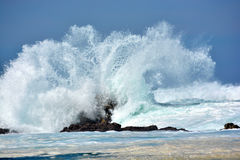 Rough stormy sea. A splashing big wave crashing into the rocks in the rough wild water of the Indian Ocean on a stormy sunny day during springtime in South royalty free stock photos