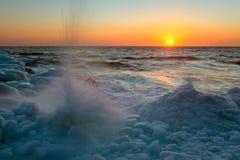 Splashing waves of the sea ice. Stock Images