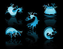 Splashing Waves and Waterwith reflection. On black background Stock Photography