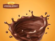 Splashing whirl chocolate cream or sauce isolated on orange background. Vector special flow effect. Liquid wave with. Droplets. Packaging design element for Royalty Free Stock Photo