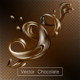 Splashing and whirl chocolate liquid for design uses  3d illustration. Splashing and whirl chocolate liquid for design uses  3d vector illustration Royalty Free Stock Images