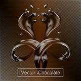 Splashing and whirl chocolate liquid for design uses isolated 3d illustration. Splashing and whirl chocolate liquid for design uses isolated 3d vector Stock Photography