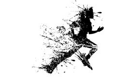 Splashy Runner. Illustration of splashy runner silhouette on white background royalty free illustration