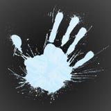 Splat blu della mano di tecnologia Fotografia Stock
