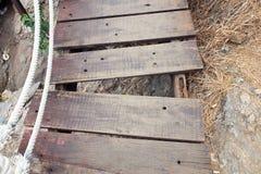 Splat of the bridge. Fail splat, loose nails of the bridge, Look unsafe Stock Photos