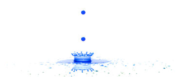 Splat. A single drop of ink hits a white surface closely followed by 2 more drops Royalty Free Stock Images