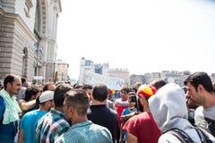 Splatający uchodźcy protestują przed Keleti dworca d Obraz Royalty Free
