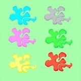 Splats вектора брызгают и шарики ярко пестрой краски в изолированных потеках форм Стоковые Фото