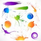 Splats colorés d'encre Photo libre de droits