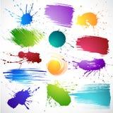Splats colorés d'encre Photographie stock libre de droits