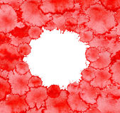 Splats splashes blobs of red ink. Background with bright red splash. Abstract background with colorful splashes Stock Photo