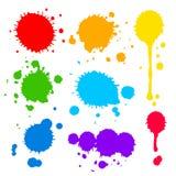 Splats y gotas de la pintura coloreada Fotografía de archivo libre de regalías