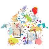 splatter краски дома дома grunge падений конспекта Стоковая Фотография
