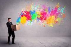 Splatter цвета от коробки Стоковое Фото