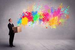 Splatter цвета от коробки Стоковые Изображения