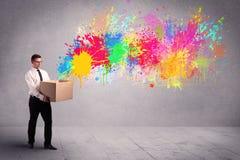 Splatter цвета от коробки Стоковая Фотография RF