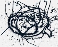 Splatter Black Ink Background. Hand Drawn Spray Blots Royalty Free Stock Photos