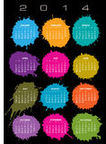 2014 splatter calendar. A 2014 creative calendar with colourful splatters Royalty Free Stock Photo