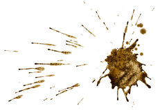 Splatter del caffè isolato su bianco. Percorso. Fotografie Stock