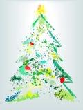 Splatter della vernice del grunge di festa dell'albero di Natale Fotografia Stock