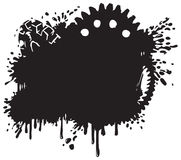 Splatter and Gear Vector Background Silhouette. A splatter and gear vector illustration, done in a tattoo or graffiti style. makes a great industrial background vector illustration
