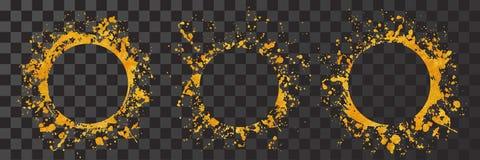Splatter gold round frame backgrounds paints set with golden splash on black. Grunge blots and drops. High quality manually traced vector illustration royalty free illustration