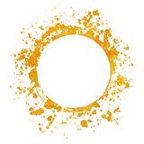 Splatter gold round frame backgrounds paints set with golden splash on white. Grunge blots and drops. High quality manually traced vector illustration royalty free illustration