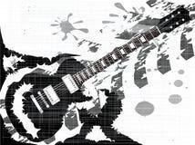 Splatter Guitar. A rock guitar into a splatter type grunge background Stock Image