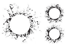 Splatter ink round frame backgrounds paints set with black splash on white. Stock Image