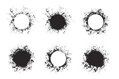 Splatter ink round frame backgrounds paints set with black splash on white. Stock Photos