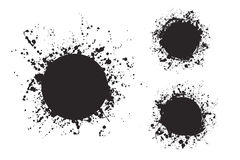 Splatter ink round frame backgrounds paints set with black splash on white. Stock Photo