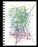 Splatter pad watercolor texture on a notepad isolated on black Stock Photography