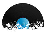 Splatter retro vinyl design element. Vector illustration of a vinyl record covered in ink splats. Grunge style with copy space Royalty Free Stock Images