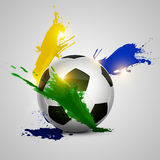 Splatter soccer ball. Soccer ball and color splash with white background Stock Photography