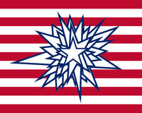 Splatter star with red white stripes Stock Photos