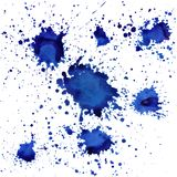 Blue vector splatters on white isolated background. Splatter vector blue on white isolated background Royalty Free Stock Photos