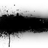 Splattered черное знамя Стоковое Изображение RF
