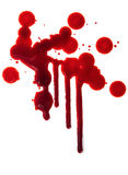 Splattered blood stains on white background Royalty Free Stock Photos